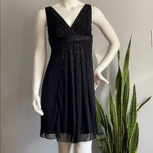 Ruby Rox Midi Beaded Black Dress